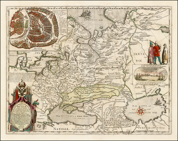 22-Poland, Russia, Ukraine, Baltic Countries and Russia in Asia Map By Willem Janszoon Blaeu
