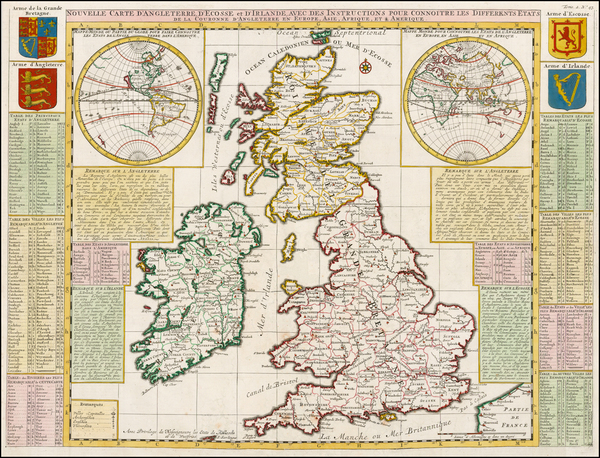 World, World and British Isles Map By Henri Chatelain