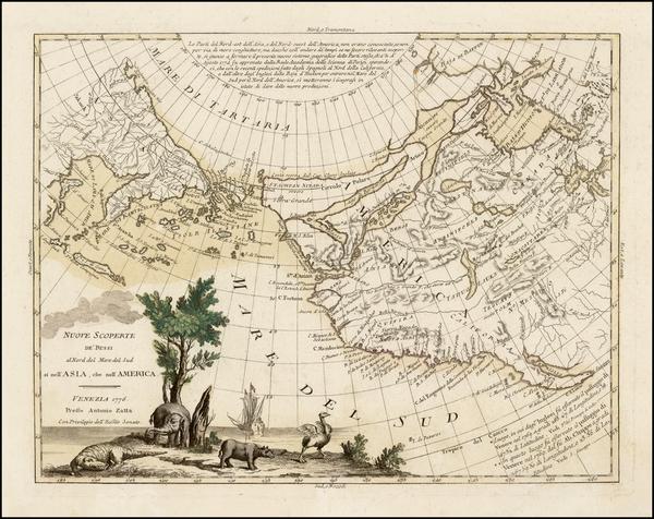 15-Rocky Mountains, Alaska, North America, Canada, Pacific and California Map By Antonio Zatta