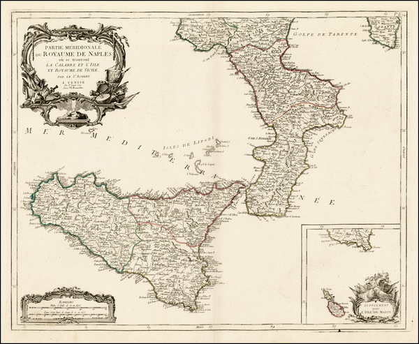63-Italy, Southern Italy, Malta and Sicily Map By Paolo Santini