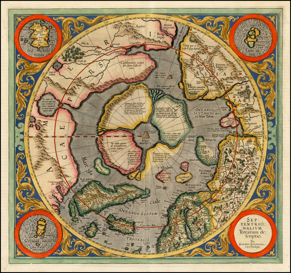 40-Northern Hemisphere, Polar Maps and Alaska Map By Gerard Mercator