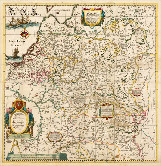48-Poland, Russia, Ukraine and Baltic Countries Map By Willem Janszoon Blaeu / Hessel Gerritsz
