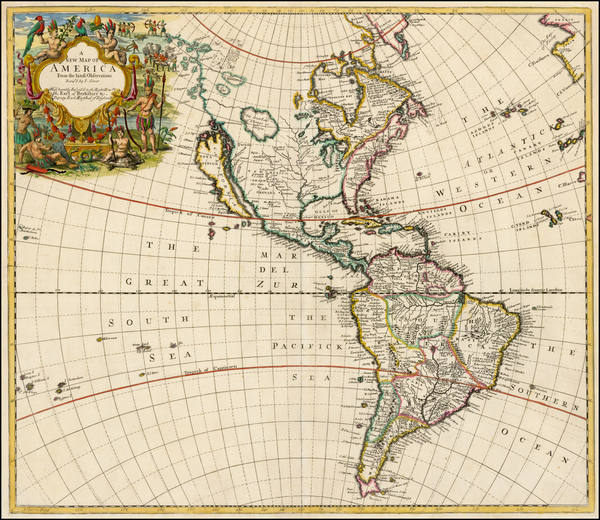 82-South America and America Map By John Senex