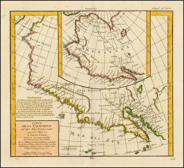 91-Southwest, Alaska and California Map By Denis Diderot / Didier Robert de Vaugondy