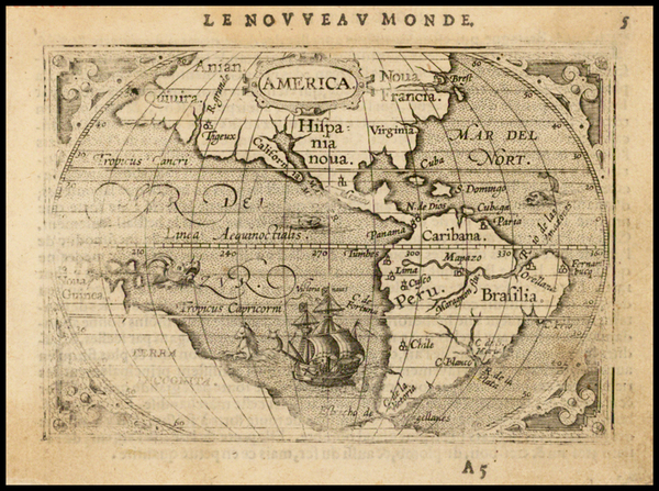 48-South America and America Map By Abraham Ortelius