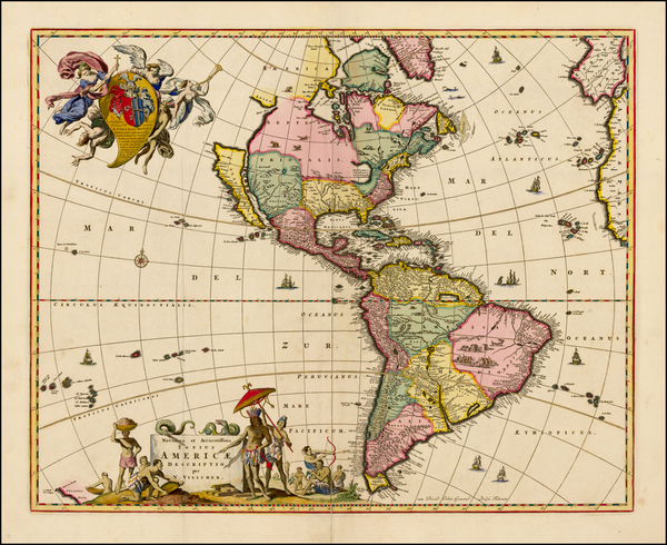 21-Western Hemisphere, South America and America Map By Nicolaes Visscher I