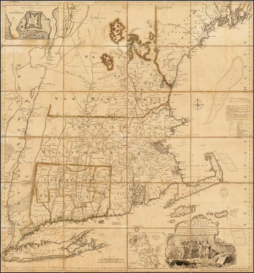 54-New England Map By Thomas Jefferys / Bradock Mead