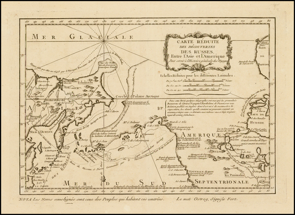78-Polar Maps, Alaska, Canada and Russia in Asia Map By Jacques Nicolas Bellin