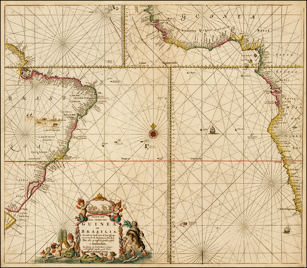 62-Atlantic Ocean, South America, Brazil, South Africa and West Africa Map By Johannes Van Keulen