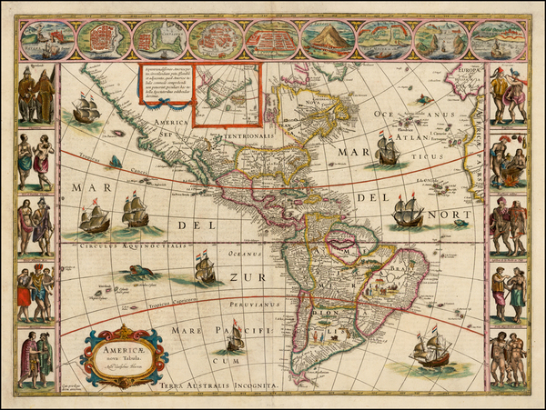 89-Western Hemisphere, North America, South America and America Map By Willem Janszoon Blaeu