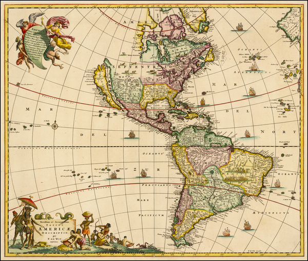 91-Western Hemisphere, South America and America Map By Frederick De Wit