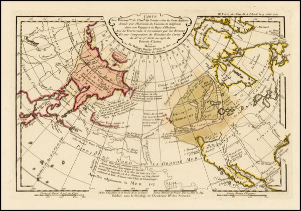 25-Polar Maps, Alaska, Canada, Pacific, Russia in Asia and California Map By Philippe Buache