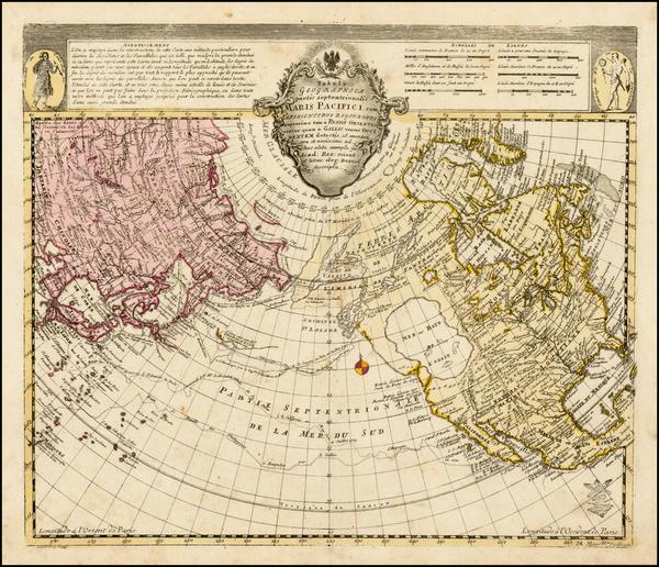 59-Polar Maps, Alaska, North America, Pacific and Russia in Asia Map By Leonard Von Euler