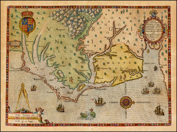 99-Mid-Atlantic, Southeast, Virginia and North Carolina Map By Theodor De Bry / John White