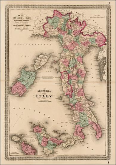 87-Italy and Balearic Islands Map By Alvin Jewett Johnson