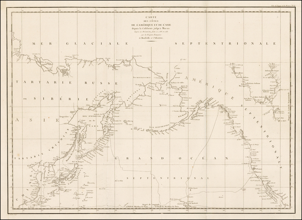 77-Alaska, Pacific, Russia in Asia and California Map By Jean Francois Galaup de La Perouse