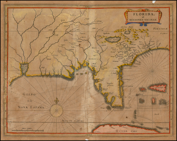 74-Florida, South and Southeast Map By Joannes De Laet