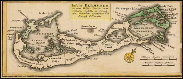 78-Atlantic Ocean, Caribbean and Bermuda Map By Homann Heirs