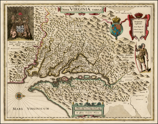 67-Mid-Atlantic and Southeast Map By Willem Janszoon Blaeu