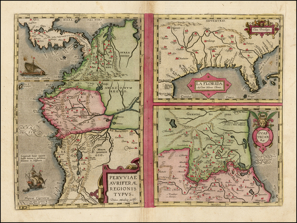 54-Florida, South, Southeast, Central America and South America Map By Abraham Ortelius