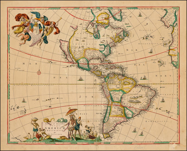 40-Western Hemisphere, South America and America Map By Nicolaes Visscher I