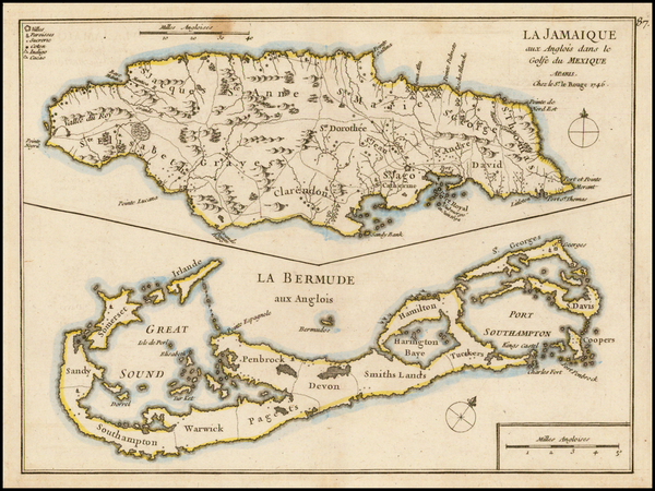 19-Atlantic Ocean, Caribbean, Jamaica and Bermuda Map By George Louis Le Rouge