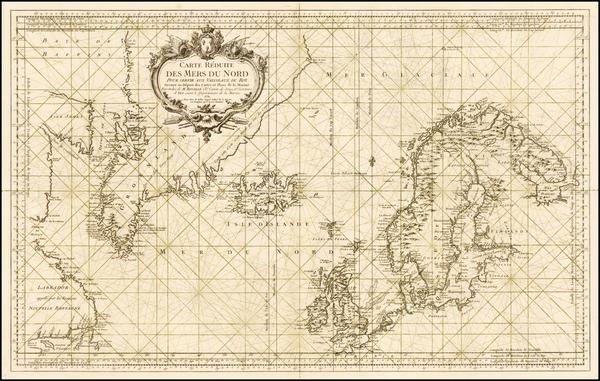 90-Polar Maps, Atlantic Ocean, Canada and Scandinavia Map By Jacques Nicolas Bellin