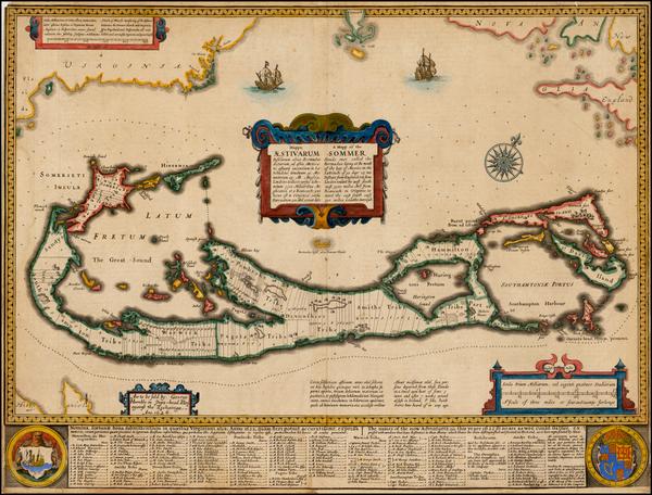 5-Atlantic Ocean, Caribbean and Bermuda Map By John Speed
