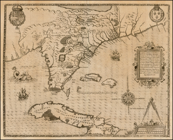58-Florida, South, Southeast, Midwest and Caribbean Map By Jacques Le Moyne