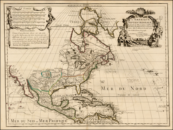 9-North America and California Map By Guillaume De L'Isle  &  Louis Renard