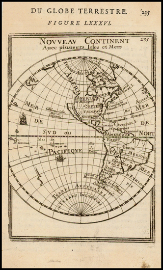 63-Western Hemisphere, South America and America Map By Alain Manesson Mallet