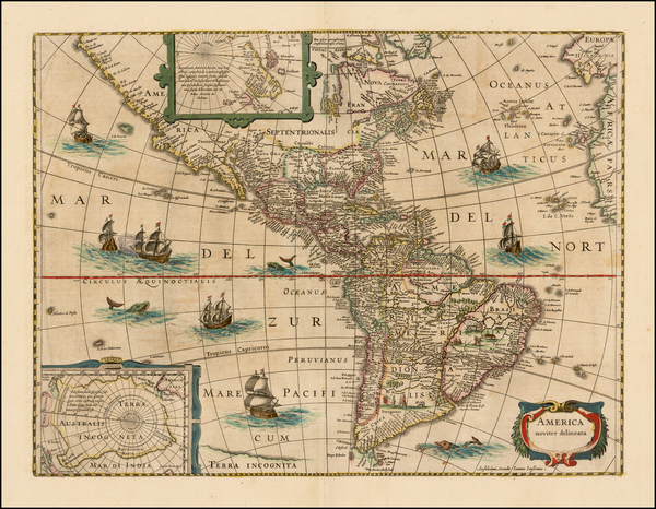 40-South America and America Map By Jodocus Hondius / Jan Jansson