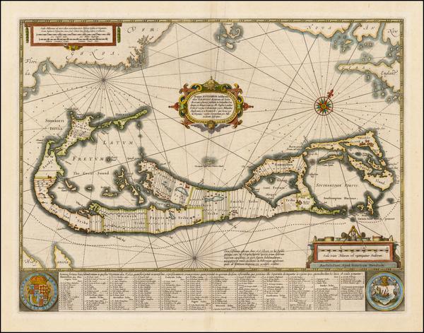 88-Atlantic Ocean, Caribbean and Bermuda Map By Henricus Hondius