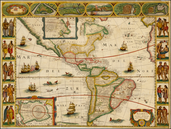 37-South America and America Map By Jodocus Hondius