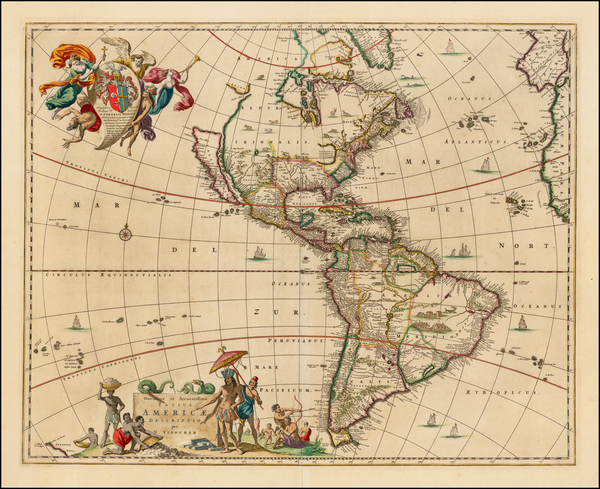 27-Western Hemisphere, South America and America Map By Nicolaes Visscher I