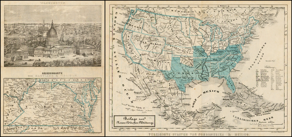 United States, Mid-Atlantic and Southeast Map By Orell. Fuesli & Cie.