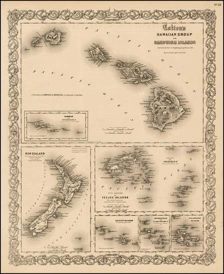 62-Hawaii, New Zealand, Hawaii and Other Pacific Islands Map By Joseph Hutchins Colton