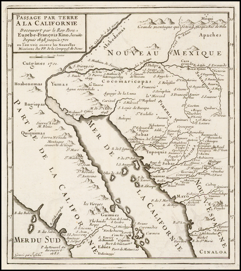 37-Southwest, Mexico, Baja California and California Map By Fr. Eusebio Kino / Inselin