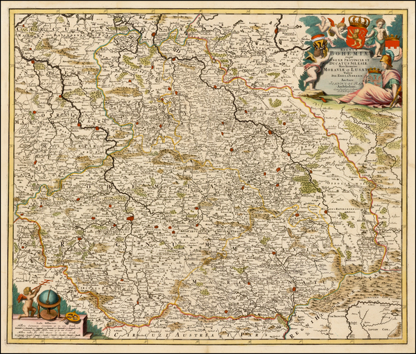 13-Poland and Czech Republic & Slovakia Map By Johannes De Ram