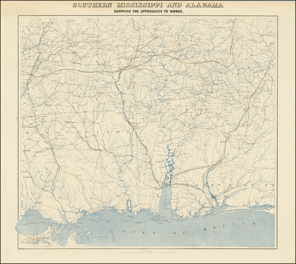 76-Alabama, Mississippi and Civil War Map By United States Coast Survey