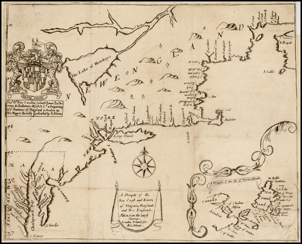 88-New England, Mid-Atlantic and Southeast Map By Richard Blome