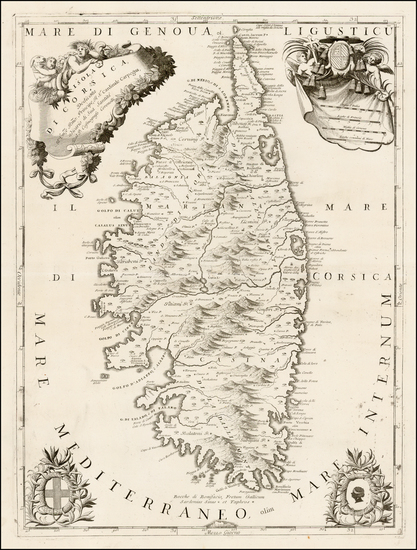 5-France and Corsica Map By Vincenzo Maria Coronelli