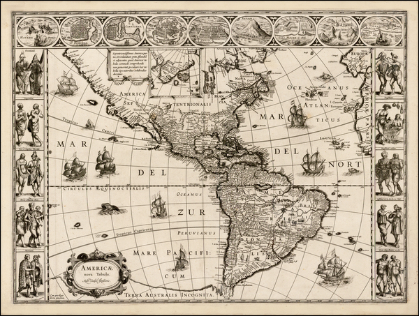 72-Western Hemisphere, North America, South America and America Map By Willem Janszoon Blaeu