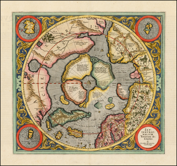72-Northern Hemisphere, Polar Maps and Alaska Map By Gerard Mercator