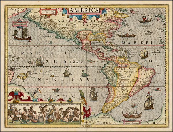 100-Western Hemisphere, South America and America Map By Jodocus Hondius