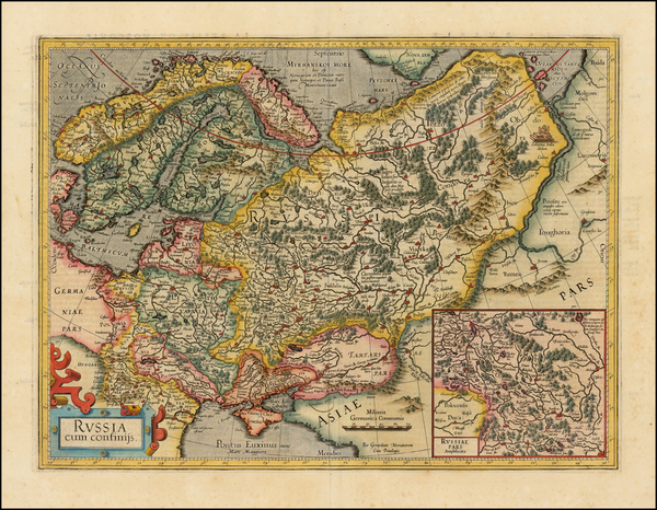 99-Russia, Baltic Countries, Balkans, Scandinavia and Russia in Asia Map By Gerard Mercator