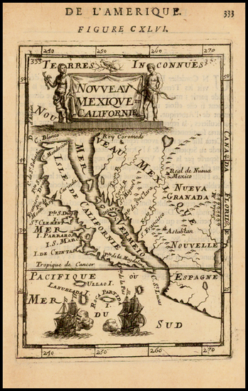69-Baja California and California Map By Alain Manesson Mallet
