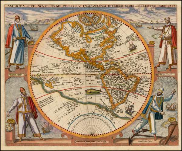 73-Western Hemisphere, North America, South America and America Map By Theodor De Bry
