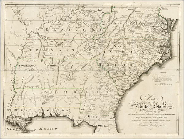 13-United States, South and Southeast Map By Abraham Bradley