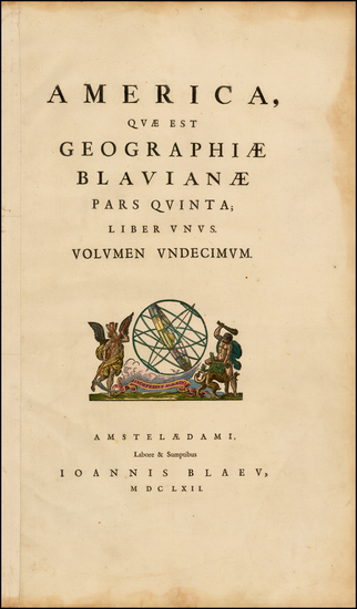 68-South America, Title Pages and America Map By Johannes Blaeu